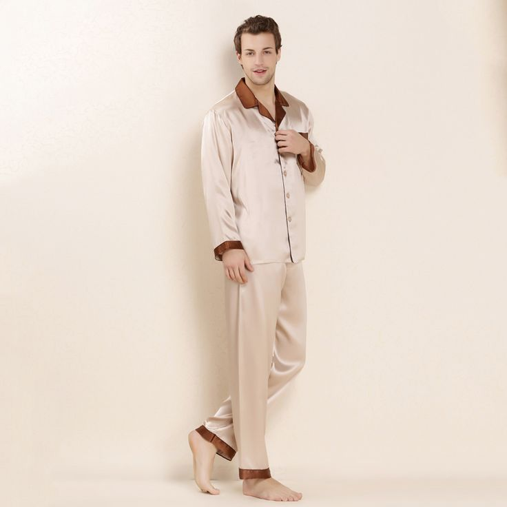 YIER Brand Mens 100% Silk Pajama Long-Sleeve Men Pyjamas Men Sleepwear Sets  Pants ... 2623f2a1e