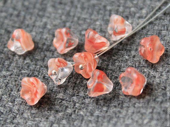 Czech Glass Flower Beads 20Pc Flower Beads от JewelryBeadsByKatie Czech Glass Beads to create jewelry #beads #glasbeads #beadsupplies #czechbeads #glassbeads
