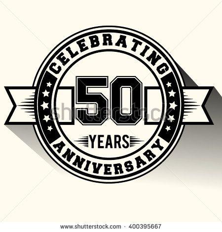 50 years anniversary logo, 50th anniversary sign, retro design. - stock vector
