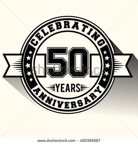 50 years anniversary logo, 50th anniversary sign, retro design. - stock vector