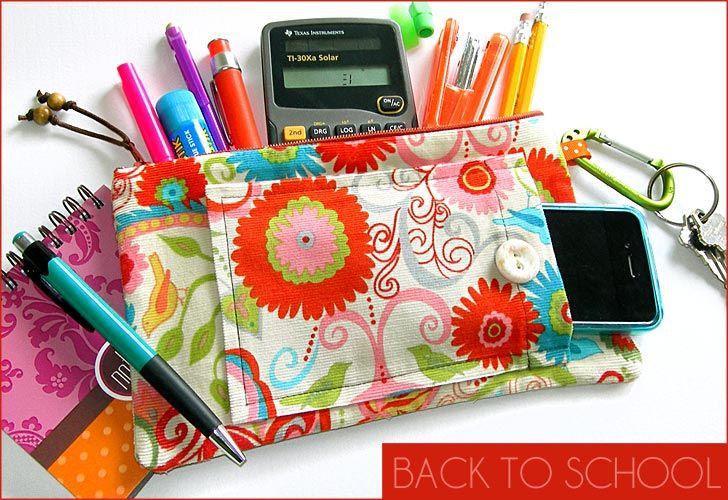 Zippered pencil case!  : Idea, Craft, Schools, School Supplies, Bag, Pencil Cases, Diy, Back To School