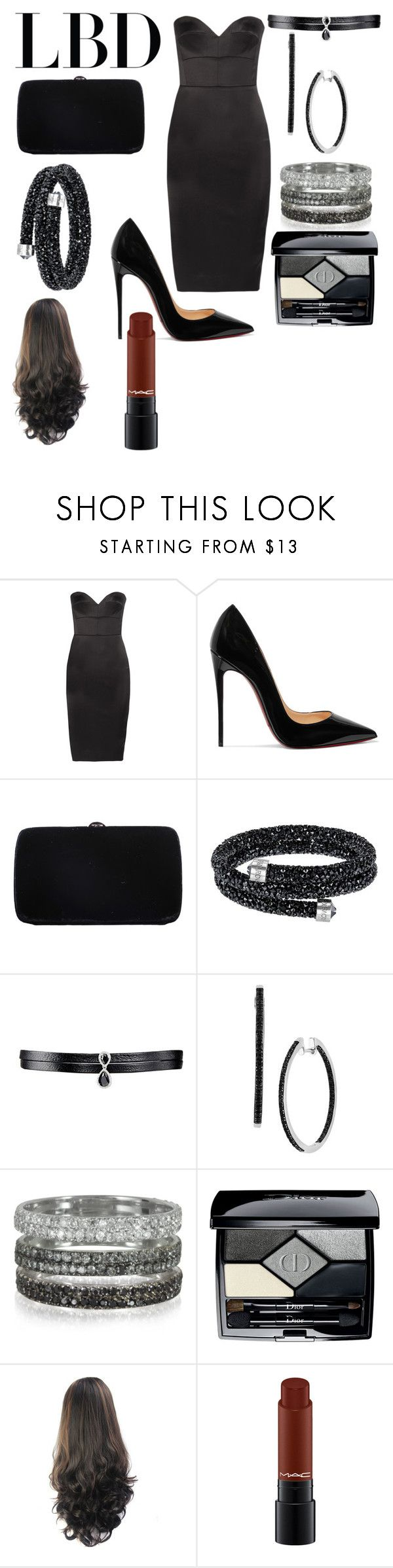 """little black dress"" by shayshayv ❤ liked on Polyvore featuring Victoria Beckham, Christian Louboutin, Sergio Rossi, Swarovski, Fallon, Bernard Delettrez and Christian Dior"