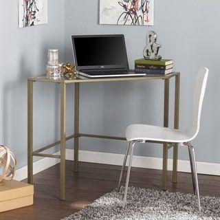 Harper Blvd Kemble Metal/Glass Corner Desk - Matte Khaki | Overstock.com Shopping - The Best Deals on Desks