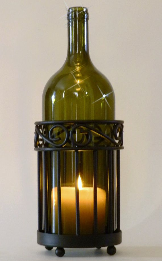 Olive Wine Bottle Candle Holder Hurricane Lamp Metal by BoMoLuTra, $30.00