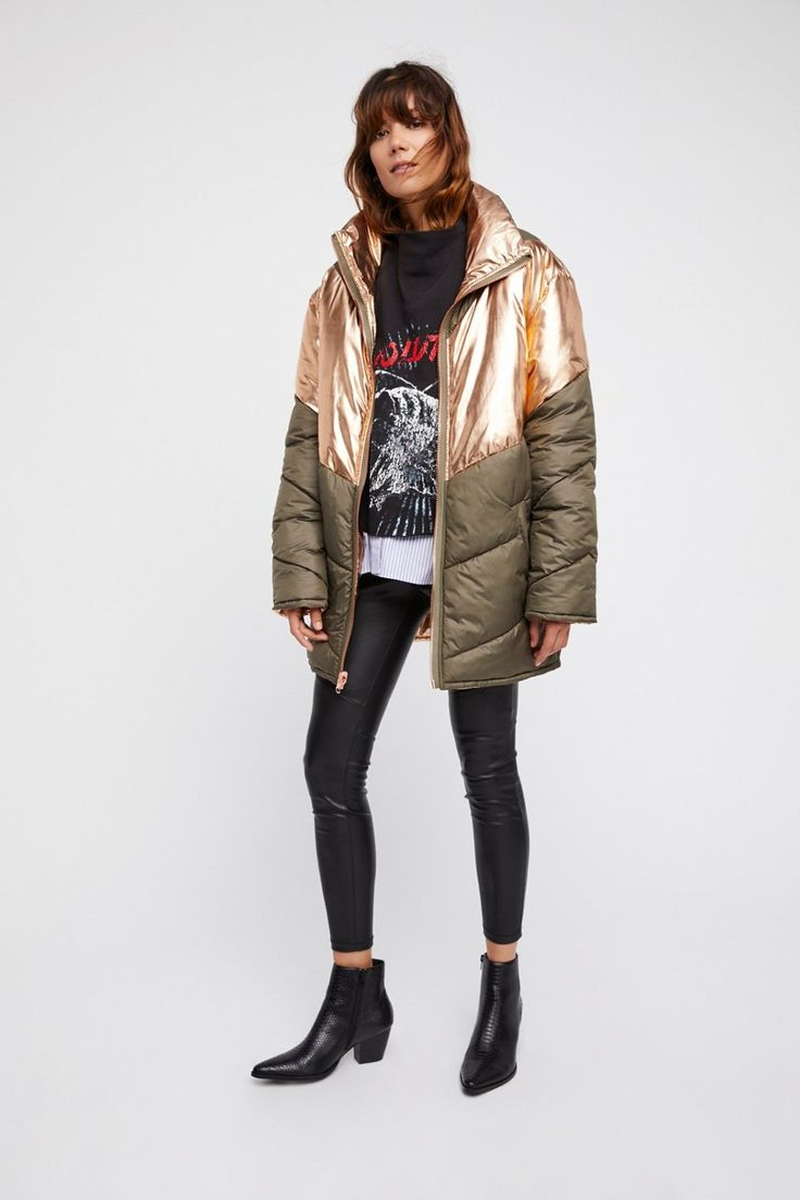 Reversible Nylon Puffer | Reversible nylon puffer jacket featuring the  option to style as a mixed
