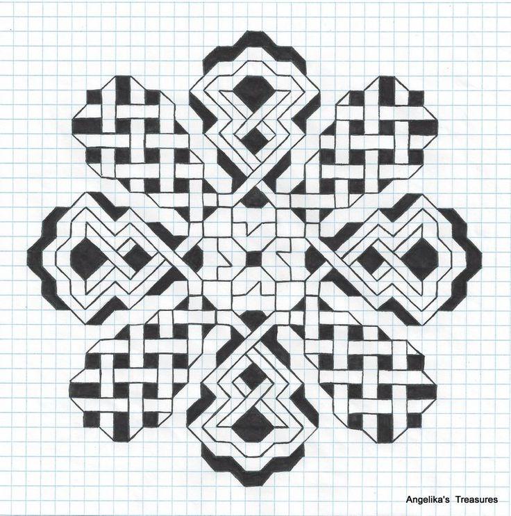25 best Grid Art images on Pinterest Graph paper art, Zen tangles
