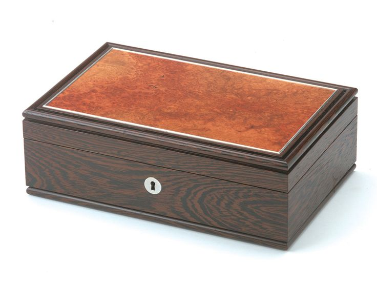 Bespoke lockable jewellery box in wenge and amboyna by furniture designers Brooks Handley at Makers' Eye | Makers' Eye