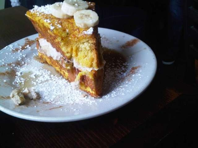 Sabrina's Cafe Stuffed Carmelized Challah French Toast. Looks heavenly!