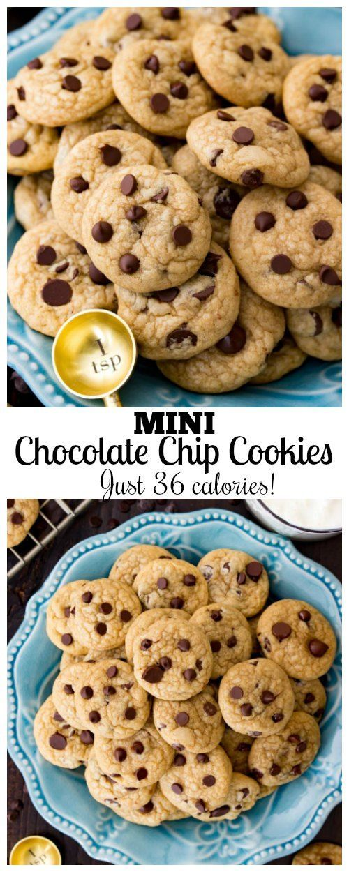 These mini chocolate chip cookies are each made with just a teaspoon and a half of dough for tiny, one-bite,35 caloriecookies! These are soft and chewy cookies that are great for portion control to not ruin your New Year's resolutions!      Happy 2018! I hope that everyone had a great Christmas and New Year!