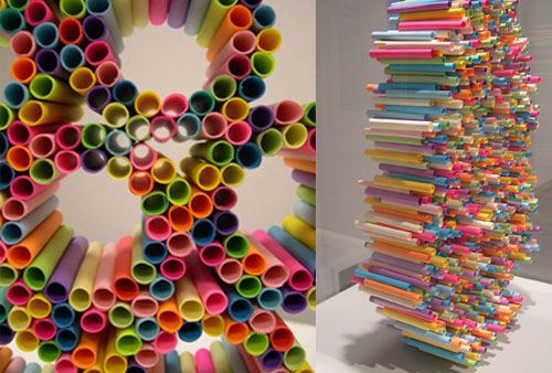 Directed Perspective (2007) by Rebecca Murtaugh (http://www.rebeccamurtaugh.com). Rolled Post-It Notes are arranged into stacked circles.