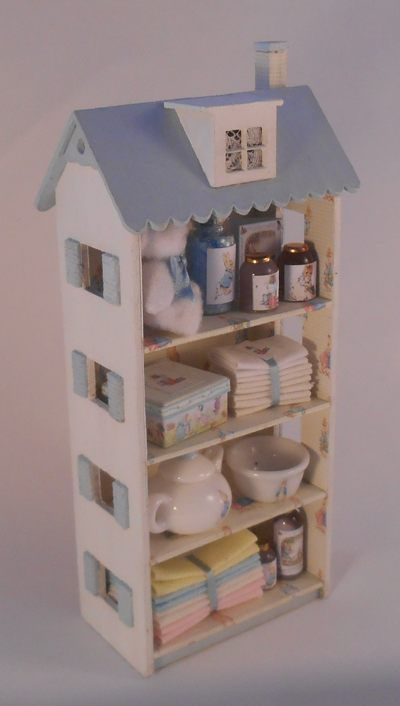 Beatrix Potter Filled Cabinet For The Dollhouse Nursery
