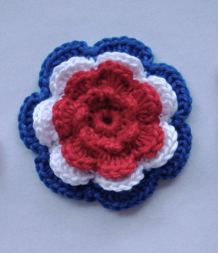 4-laags bloem rood wit blauw