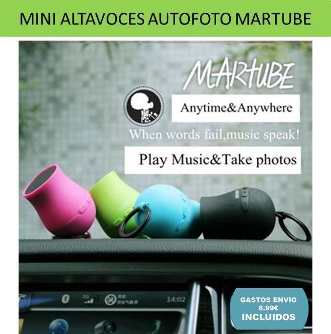 MarTube mini altavoces portatiles para moviles. Altavoces bluetooth inalambricos sin cables con funcion selfie.