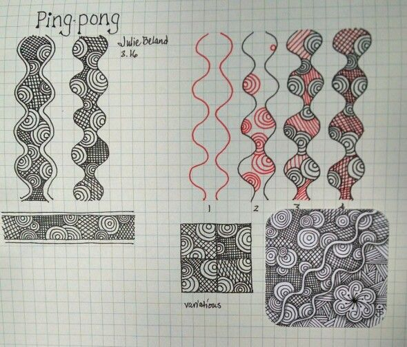 New tangle, Ping-pong (revised). Julie Beland, 3/16. Zentangle.