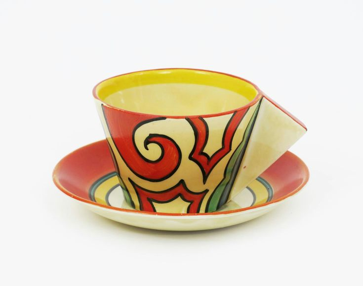 Arabesque' a Clarice Cliff Bizarre Conical tea cup and saucer