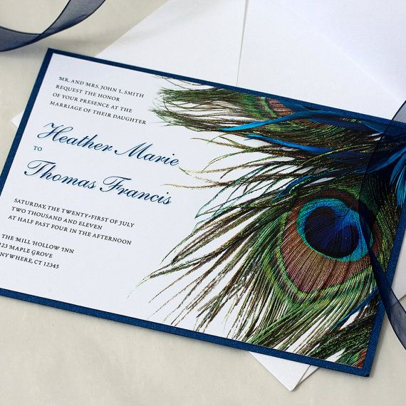 Hey, I found this really awesome Etsy listing at https://www.etsy.com/listing/105922677/peacock-wedding-invitation-feather