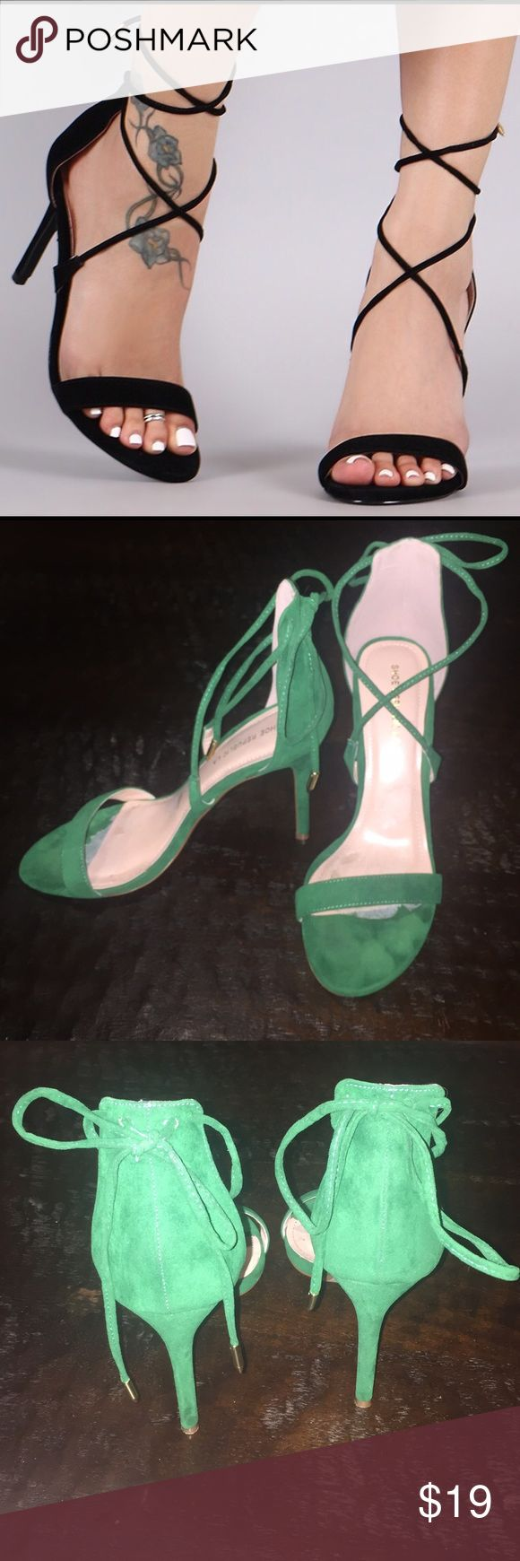 Green 💚 vegan suede strap up heels These green vegan suede heels are perfect for a pop of classy color! Worn once, has sticky paper inside from heel cushion insoles. Price reflects wear . Great find! Shoes Heels