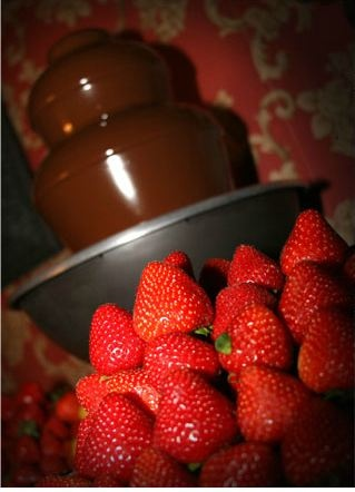 chocolate fountain and strawberries..is there anything better?!
