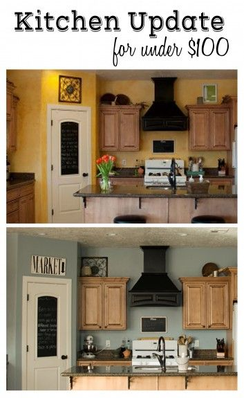 Kitchen Before And After1 353x575 Kitchen Update For Under 100 Valspar Bluekitchen Paint Colorscolors