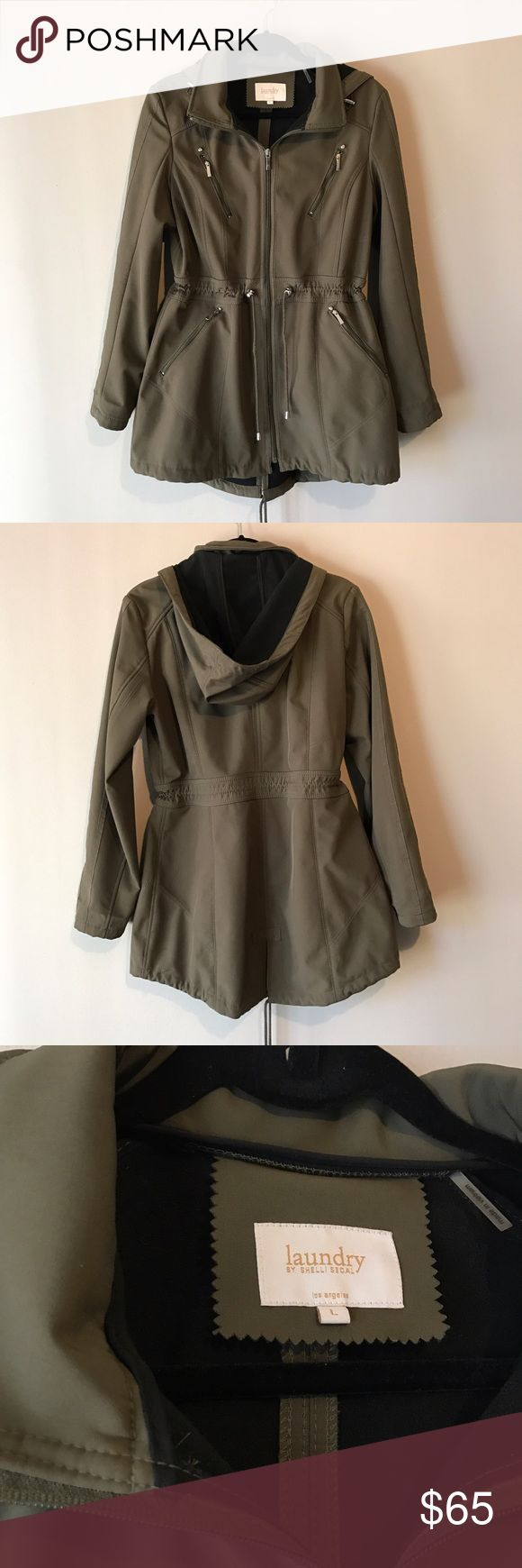 Zip Up Trench Coat Olive green colored zip up trench coat with removable hood, water resistant material & paneled lined interior. Lots of great details (see pics) - crystals, zippers at all 4 pockets, & adjustable cinching at the waist, hood & hem. Got this when I was larger during pregnancy but now it's too big on me. Material not too thick or thin - great for transitioning into Spring! In excellent condition and well structured! As always, all reasonable offers are welcome. Let me know if…