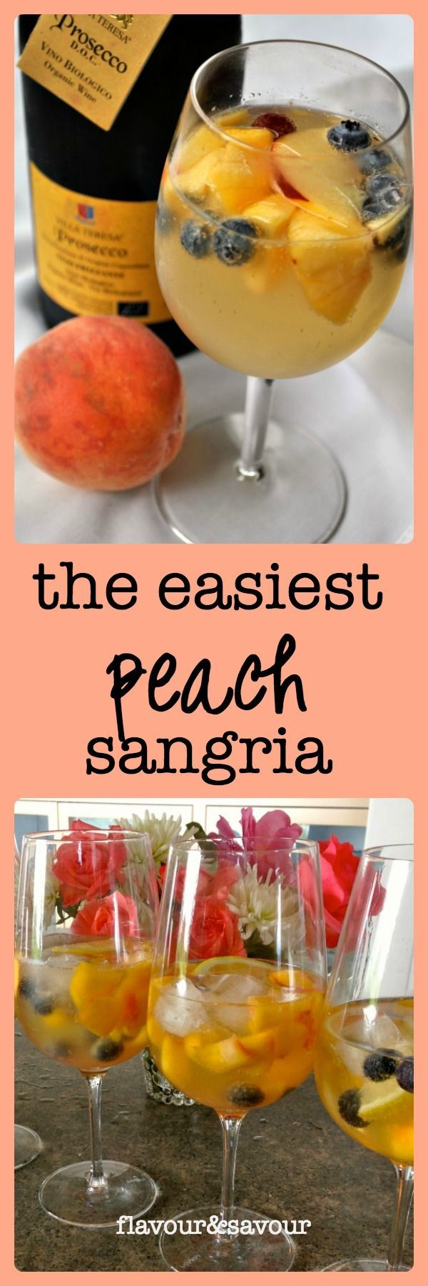 Fresh peaches and blueberries sweeten this easy Peach Sangria! from Flavour and Savour