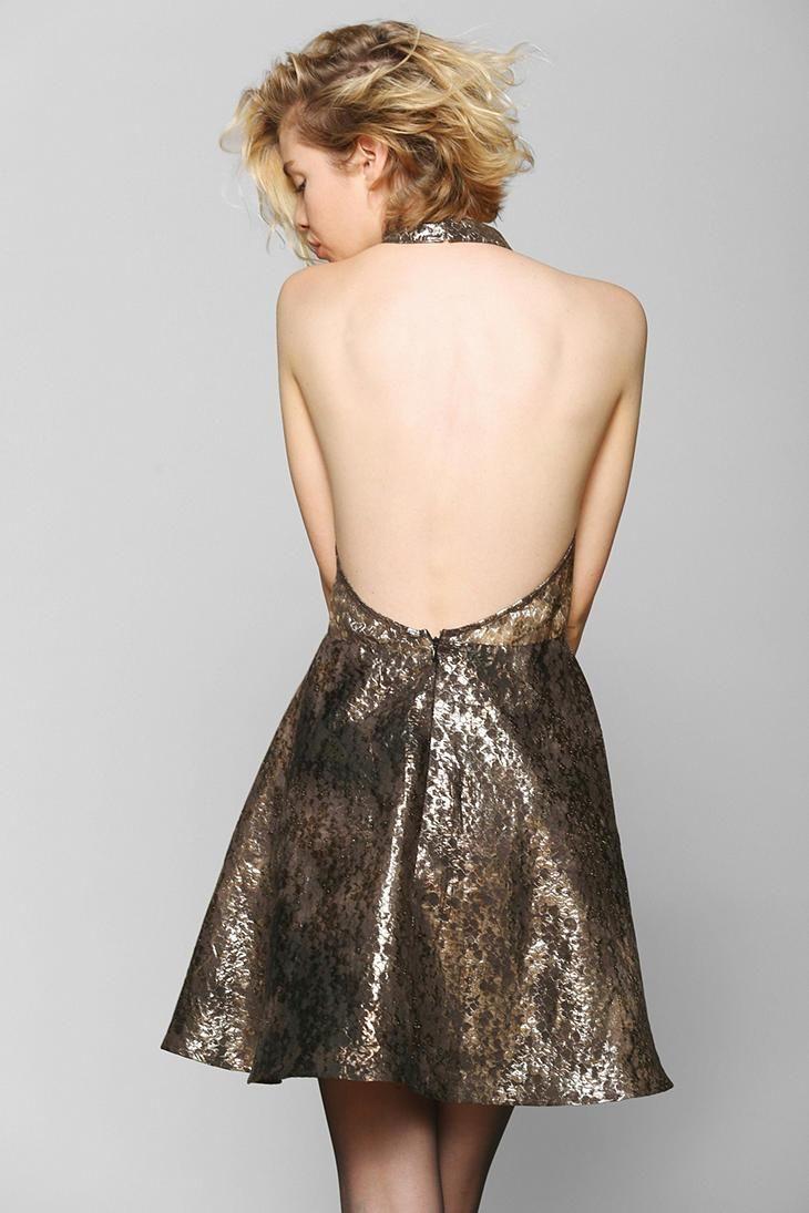 KNT By Kova & T Backless Metallic Halter Dress | Dresses ...