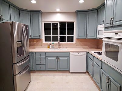 satin paint for kitchen cabinets blue milk painted kitchen cabinets 7869