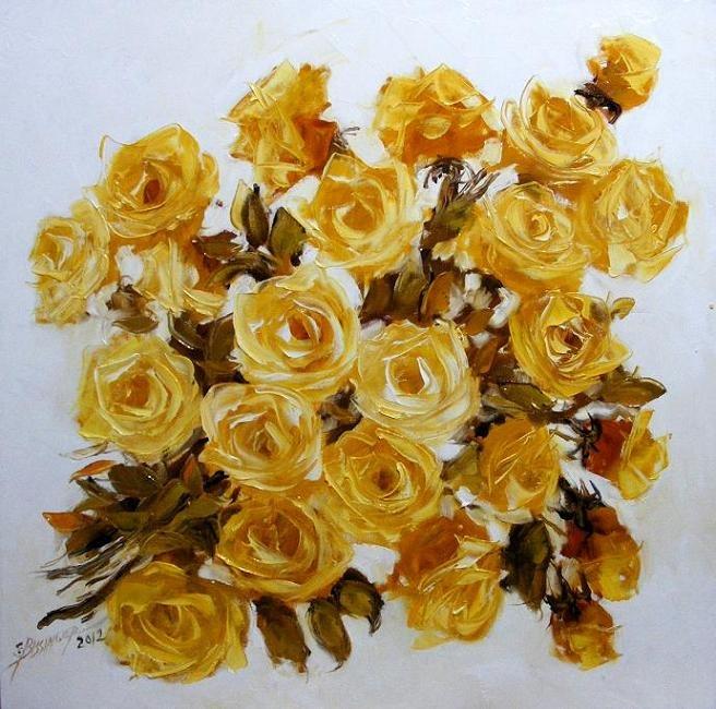 Goldenroza  oil/canvas  size 60cmx60cm  signed Bissinger 2012