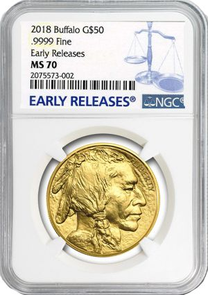 We're pleased to offer the 2018 Gold American Buffalo in a perfect Mint State 70 condition, graded by NGC. Since 2006 the US Mint has minted these in limited quantities as a bullion coin. However, perfect examples always trade at a premium to their gold value, since so few coins can attain a perfect grade. Call 1-800-928-6468 to order yours today!
