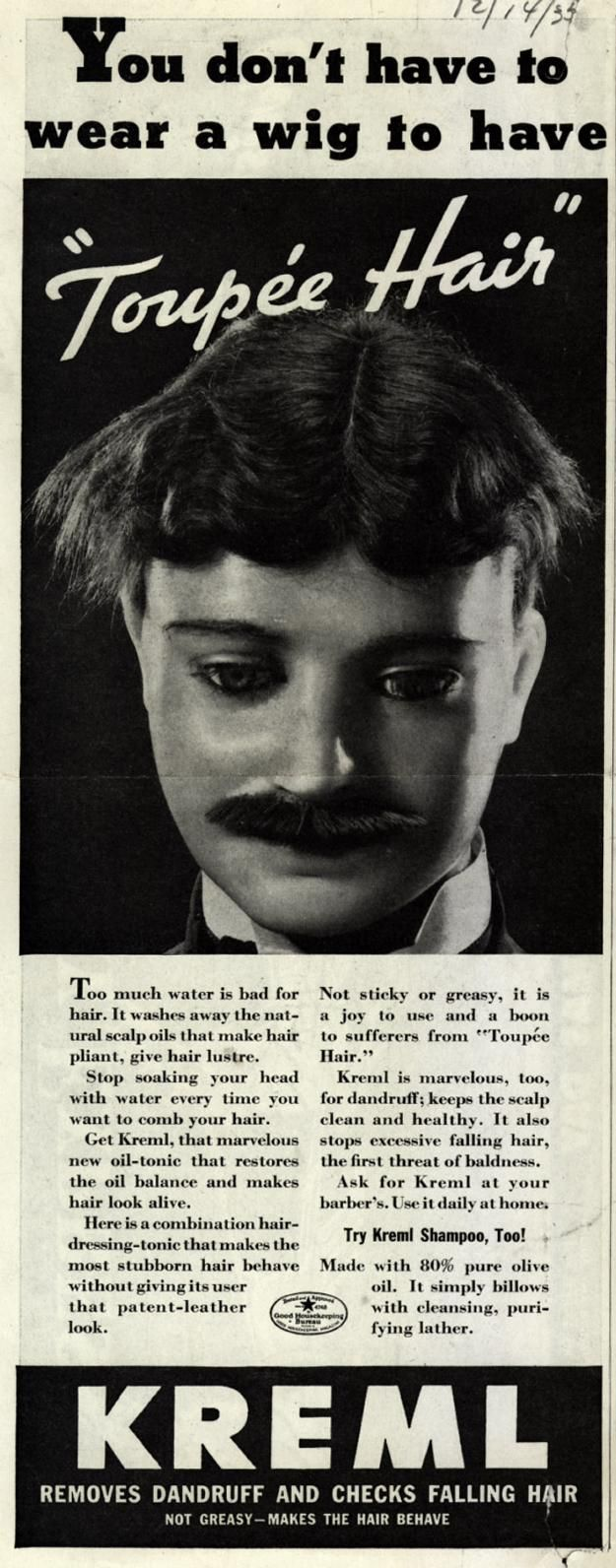 """1935, You don't have to wear a wig to have """"Toupee Hair""""...what does this even MEAN??"""