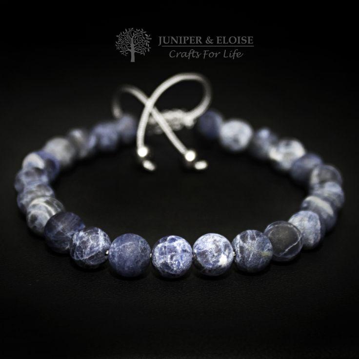 Mens Bracelet, Adjustable Bracelet, Jewelry For Men and Women , Unisex, Trendy Gift, made with 8 mm Blue Matte Sodalite Beads by JUNIPERANDELOISE on Etsy