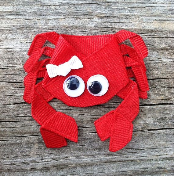 Crab Ribbon Sculpture Hair Clip  Toddler Hair Bows  by leilei1202, $4.25