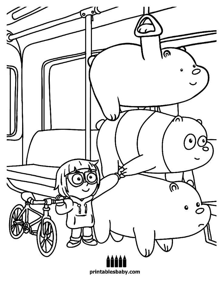 We Bare Bears In The Subway Coloring Page   Bear coloring ...