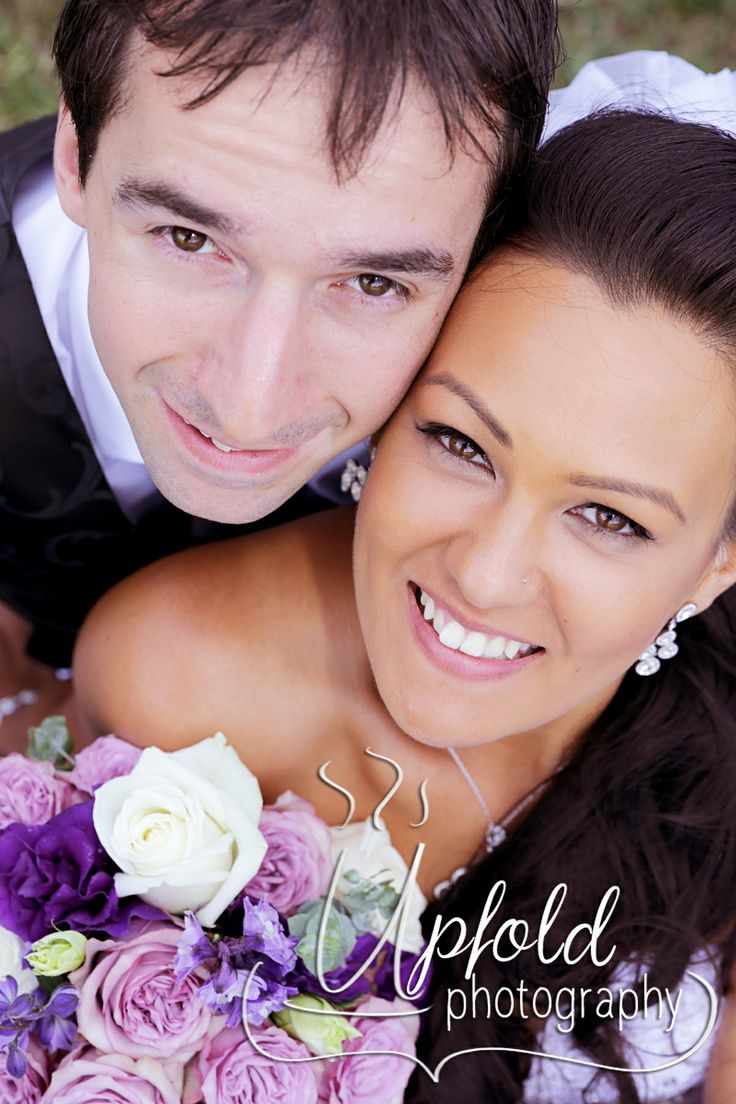 Beautiful bride and her groom ~ shades of purple wedding bouquet. Image by Upfold Photography, Auckland, NZ www.upfoldphotography.co.nz  ~ wedding at Langtons on Lincoln ~ bride and groom photo ~
