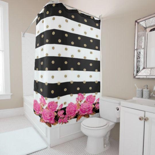 Elegant Bathroom Rose: Elegant Black White Stripes Pink Roses Shower Curtain