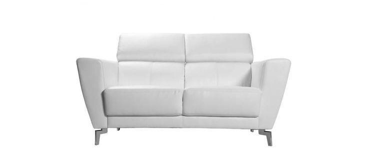 Divano in pelle design 2 posti con poggiatesta relax bianco IDAHO