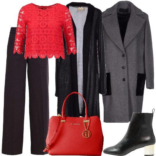 Un bel pantalone a vita alta, grigio, ampio al fondo, che può essere abbinato alla camicetta rossa, corta, in pizzo. Indossiamo sulla camicetta il cardigan leggero, lungo, nero e il cappotto grigio, con tasche nere, in lana. Per concludere abbiniamo: stivaletti neri, con tacco metallizzato e borsa Trussardi Jeans, rossa. A questo look puoi abbinare un make up che mette in risalto le labbra, magari grazie ad un rossetto rosso.