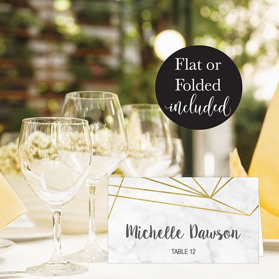 Marble Geometric Wedding Place Card Template Modern Gold