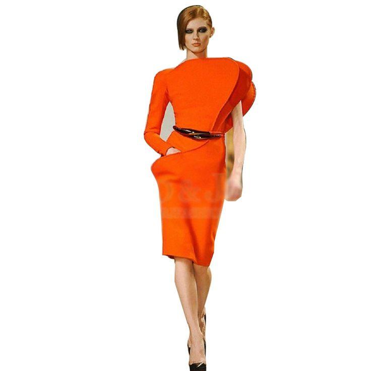 2015 runway dress women's high quality dresses midi dress 3D Petal Shoulder Orange Slim Waist Knee Length office dress