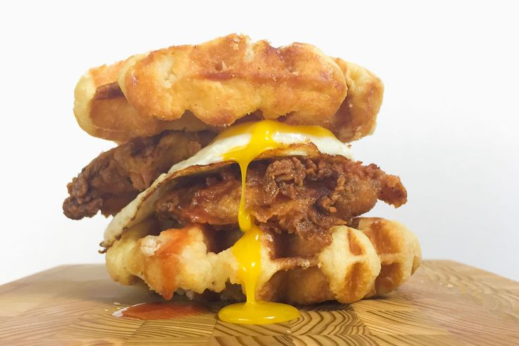 Who needs buns when you've got waffles? Get the recipe: Chicken and Waffles Breakfast Sandwich   - Delish.com