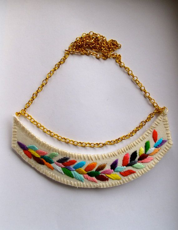 Reserved embroidered necklace multicolored laurel leaf