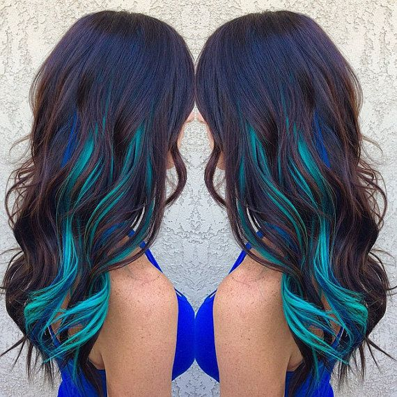Balayage Dip Dye 8A Remy Human Hair Clip In Colourful Flashes Hair Extensions  Ombre & Dip Dye Brown  Colour Turquoise Green                                                                                                                                                                                 More