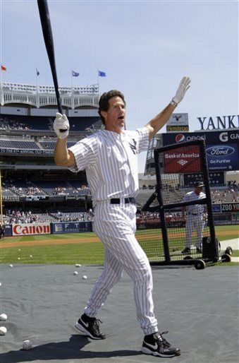 Former New York Yankees outfielder Paul O'Neill reacts after hitting a home run in batting practice before the Old Timers Day baseball game Sunday, June 23, 2013, in New York.