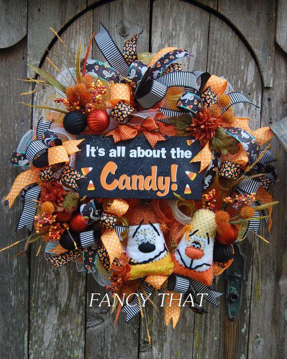 halloween candy corn wreath deco mesh halloween by fancythatdecor - Deco Mesh Halloween Garland