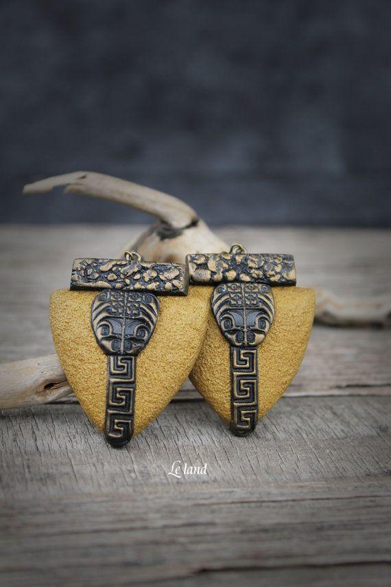 Regalo di bohemien orecchini Art Deco artigianale di Lelandjewelry