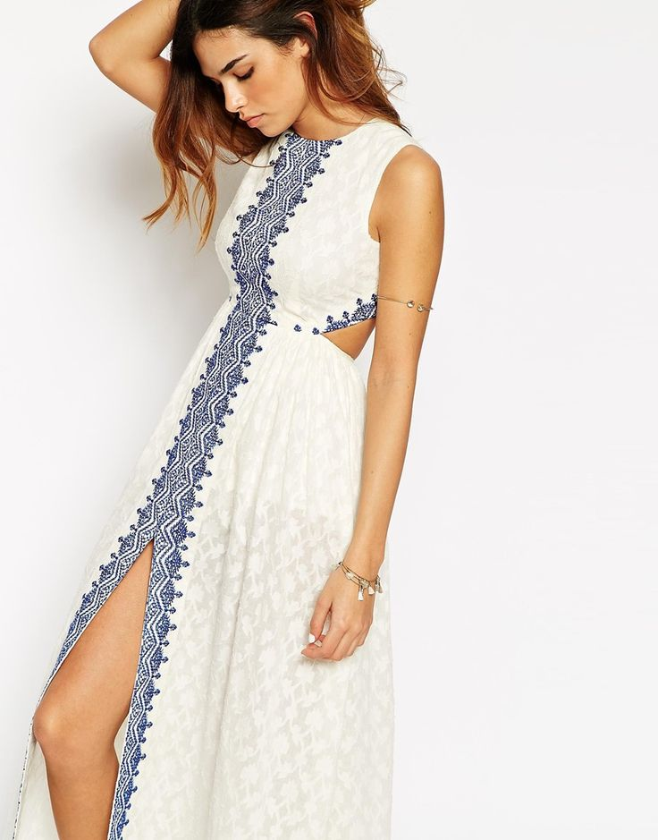 ASOS Petite   ASOS PETITE Maxi Dress with Festival Embroidery and Cut Out Back at ASOS