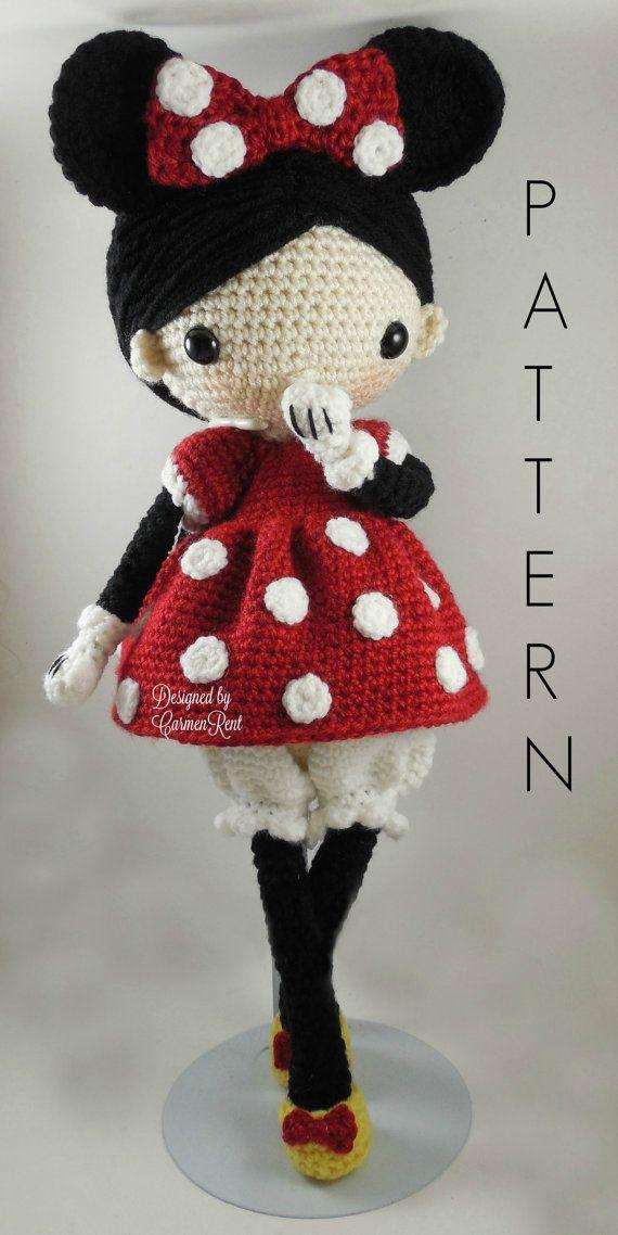 Minnie  muñeca Amigurumi Crochet patrón PDF por CarmenRent en Etsy