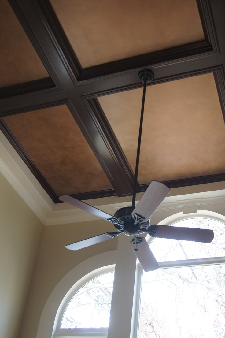 Originally White This Coffered Ceiling Was Refinished To