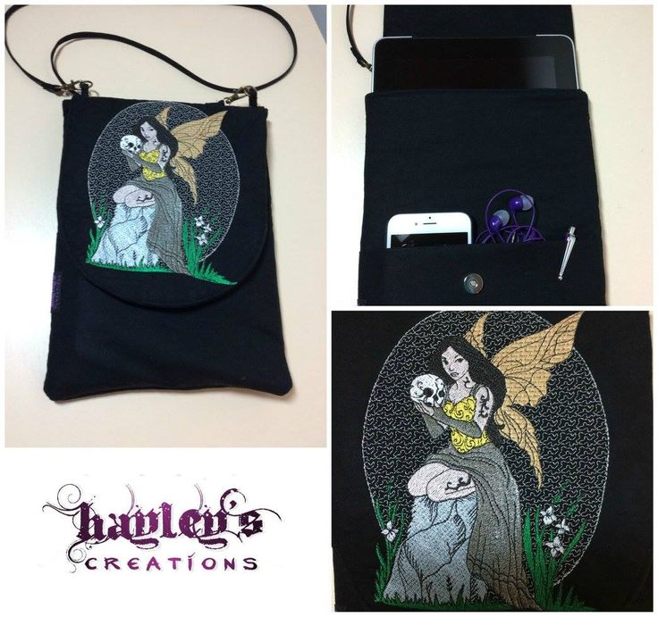 Handmade by Hayley at Hayley's Creations  Black Tech / Tablet Case / Shoulder bag