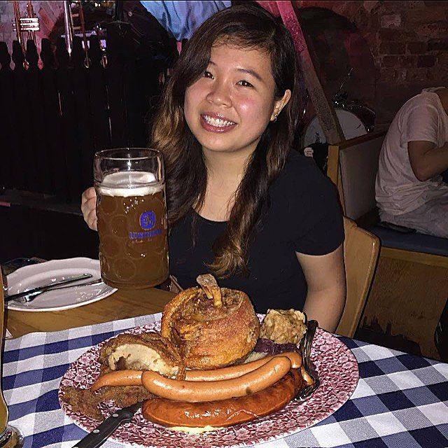 Everything is up a size!! Including me  #porkknuckle #beer #germanfood #lowenbrau by jocfoo92 #haxenhaus #people #food